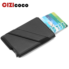 Male Metal Card Holder PU Leather Wallet Business RFID Blocking Credit Aluminum Alloy Protector