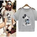 Dropshipping! 2017 de Verão Da Europa Mulheres Mickey pedaço Talão bordado Tops Slim blusas camisa de manga curta T
