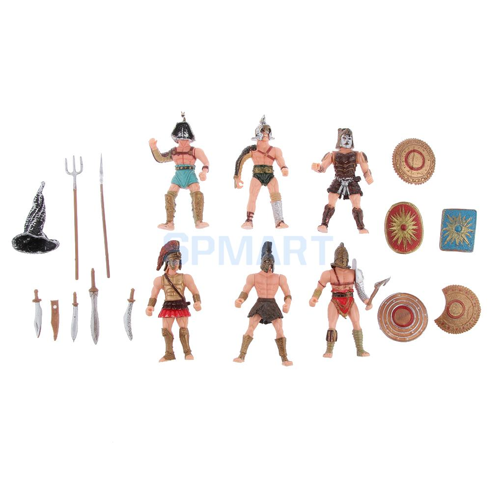 6pcs Plastic Ancient Roman Gladiator Warriors Medieval Soldier Action Figures Model Military Playset DIY Scenes Kids Adult 1 6 sovereign military knights of malta ancient medieval soldier action figure model collections