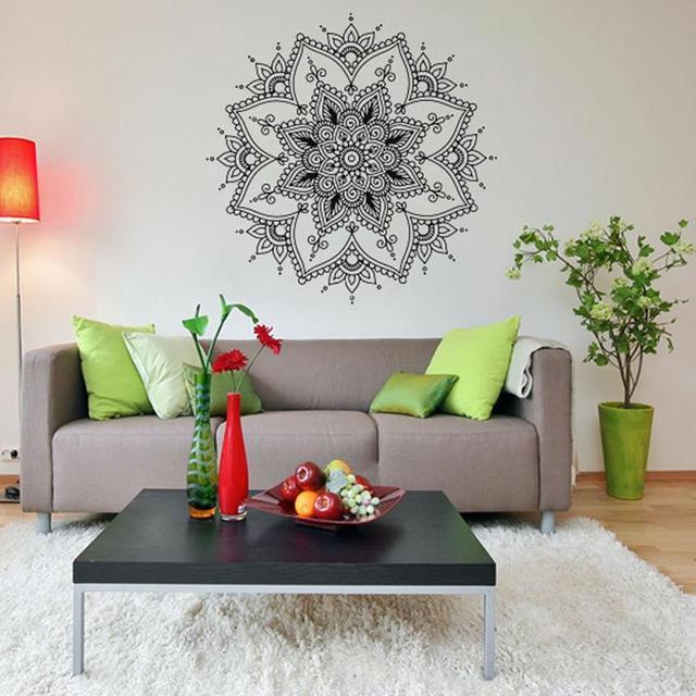 Accueil décoration mandala fleur indien chambre sticker art autocollants à la maison murale famille de vinyle