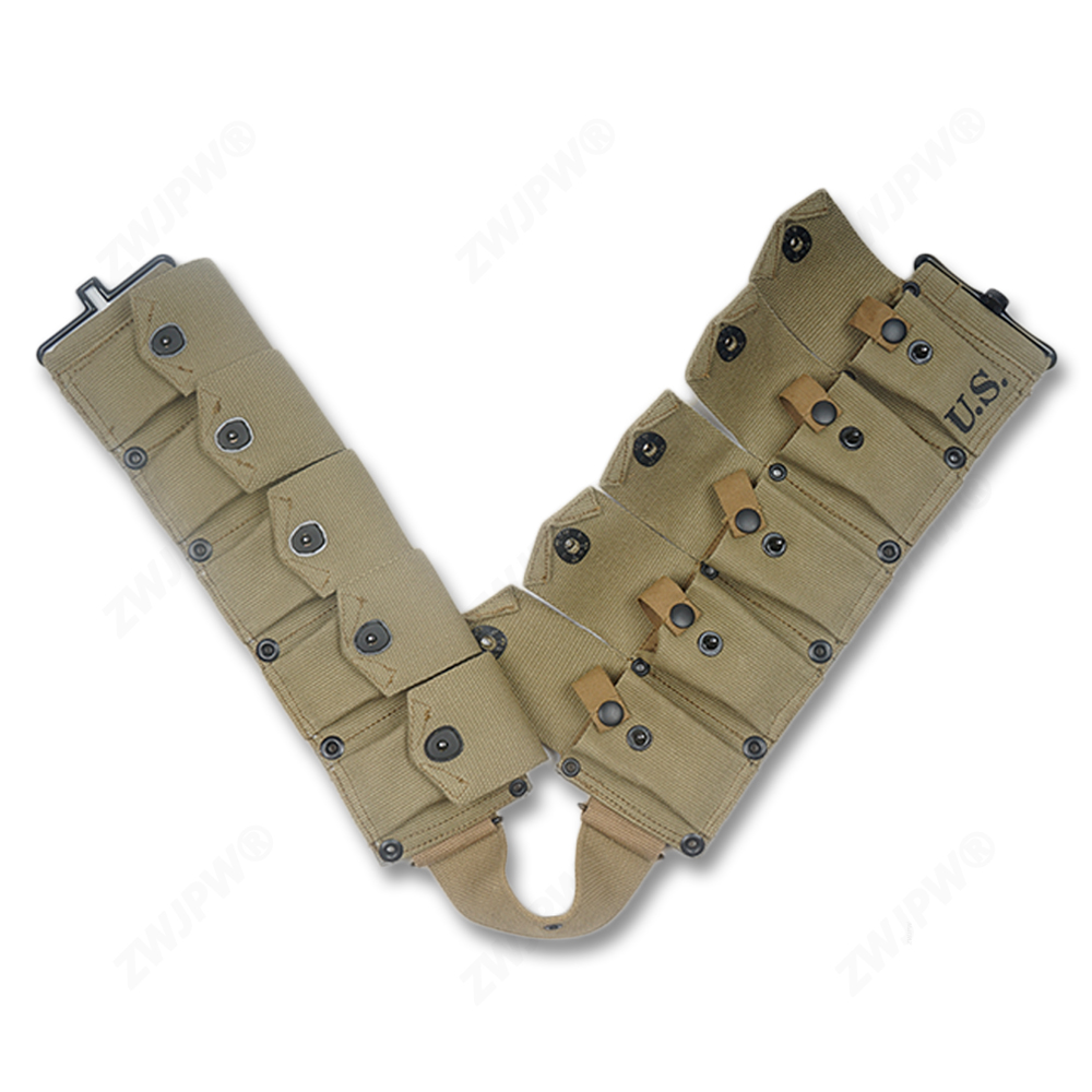 WW2 US A RMY M1 CANVAS GARAND TEN CELL POUCH KHAKI HIGHT QUALITY