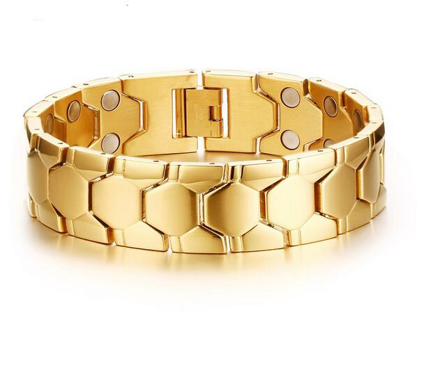 Holiday Gift Gold  stainless steel Magnetic Therapy health care Link Chain  Bracelet Jewelry 18mm wide 8.26''