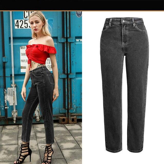 6b0963775d6 Aphrodite Home Women`s Plus Size High Waist Washed Gray True Denim Pants  Boyfriend Jean Casual Straight Femme for Women Jeans