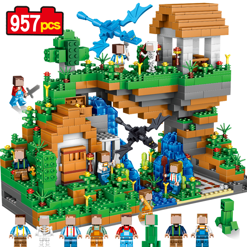 Sending Dragons 957pcs My world  Hidden water fall Building Blocks Bricks Educational Christmas toys Gift hobbies for children my christmas cd