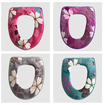 Floral Printing Warm Comfortable Coral Velvet Toilet Seat Covers Pedestal Pan Cushion Pads Bathroom Decoration 4 Color Options 1