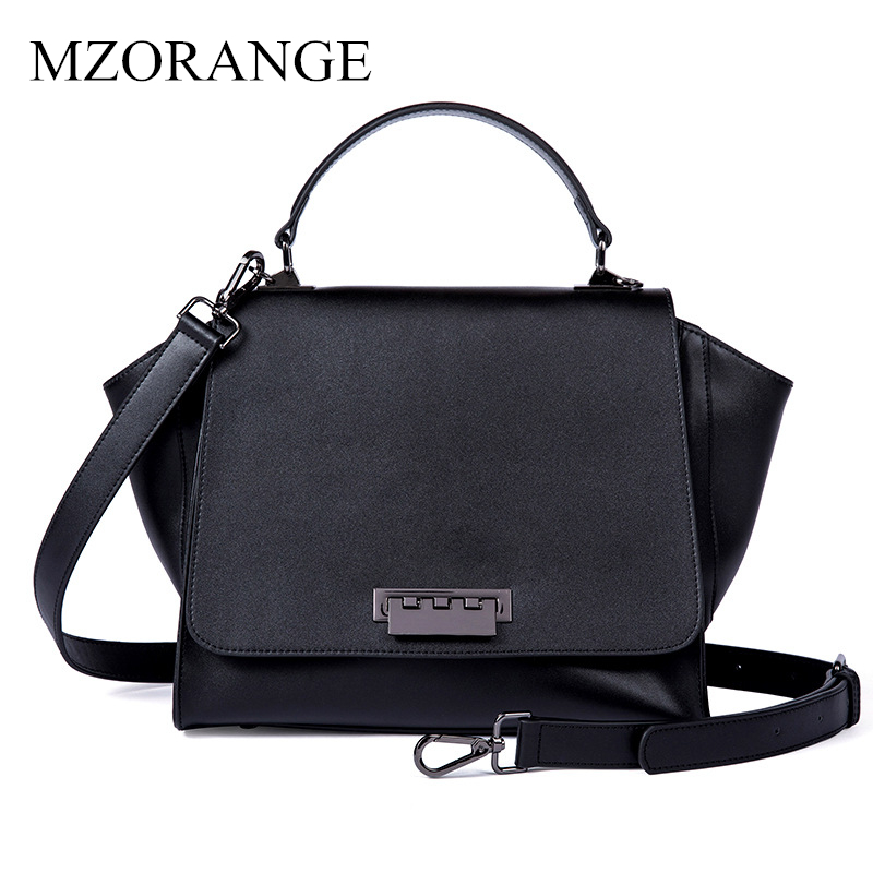 2018 MZORANGE Genuine Leather Women Bag Luxury Handbags Fashion Trapeze Designer Ladies Casual Tote Big Shoulder Messenger Bags 2018 luxury brand trapeze platinum bags designer women cow leather shoulder bag scrub genuine leather messenger bag casual tote