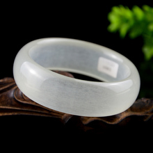 Drop Shipping Wide Strip Women Bangles Natural White Jade Ice Bright Bracelets Cuff For Engagement Dance Party Gifts