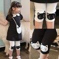 2016 das crianças roupas de verão criança do sexo feminino legging bebê capris criança na altura do joelho-comprimento calças legging fina