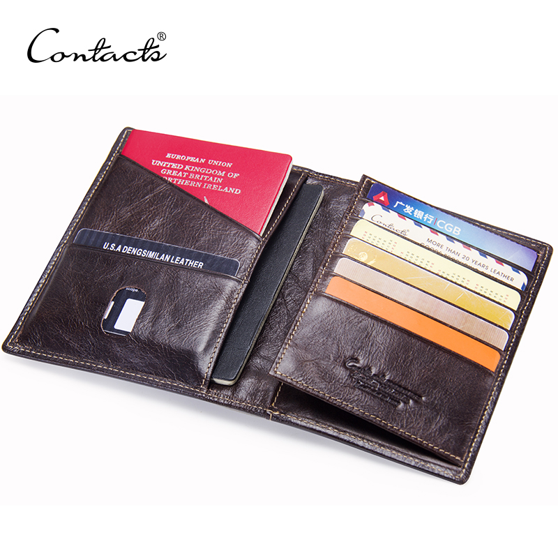 CONTACT'S Casual Genuine Leather Male Passport Wallet Men's Credit Card Holder Man Passport Cover With Coin Pockets For Travel