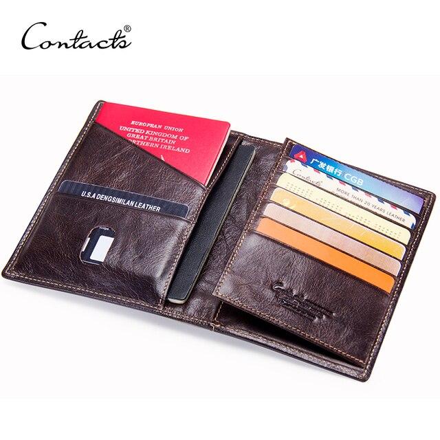 CONTACTS Casual portafoglio per passaporto maschile in vera pelle porta carte di credito per uomo porta passaporto per uomo con tasche per monete da viaggio