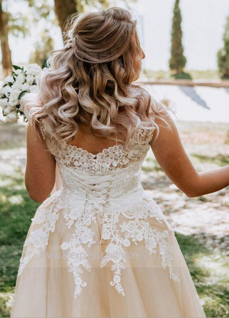 V-neck Lace Applique Cap Sleeve Long Elegant A-line Wedding Dress with Lace-up Pearls Champagne Bridal Dress vestido de novia 5