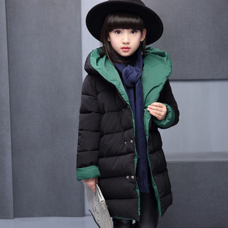 2018 New Winter Children Outerwear Coats For Girls Jacket Thickening Warm Fashion Kids Hooded Parkas Coat 4 6 8 10 12 13 Years in Jackets Coats from Mother Kids
