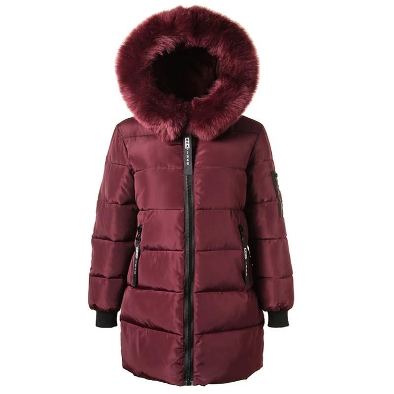 New 2017 Woman Winter Coats Casacas De Mujer Winter Thick Medium Long Padded Jacket Long Sleeved Hooded Fau Fur Collar Parkas 2017 new coats