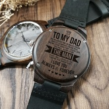 To My Dad Engraved Wooden Watch Men Gift