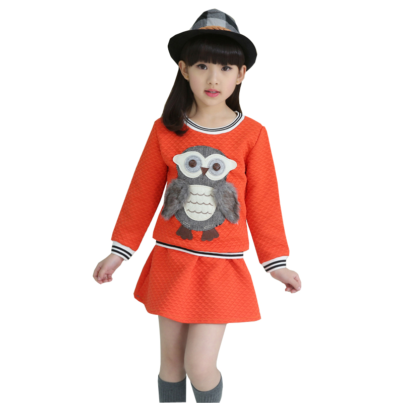 Fashion children girls autumn winter clothing set cute owl pattern sweatshirts mini skirt 2 Mla winter style fashion set