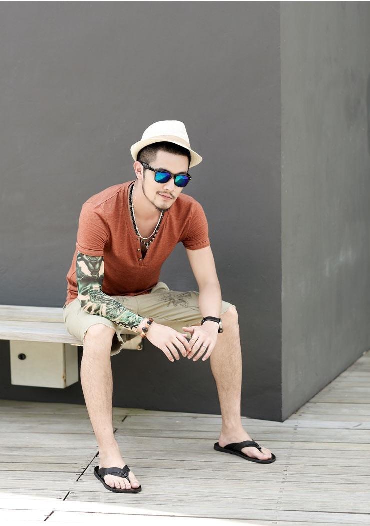 Мужские футболки размера плюс S-XXL, модные новые повседневные хлопковые мужские футболки с коротким рукавом и v-образным вырезом, футболки с принтом