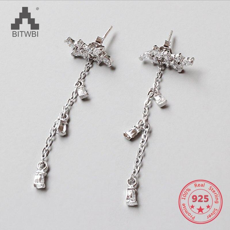 100% Echt 925 Sterling Silber Ohrringe Luxus Zirkon Blätter Lange Quaste Ohrringe Für Frauen Mädchen Schmuck Weihnachten Geschenk Einen Effekt In Richtung Klare Sicht Erzeugen