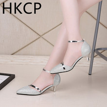 HKCP Mid-heel Fashion Sandals Female Fine-heeled Korean version of the new sequins Hollow Tip C056