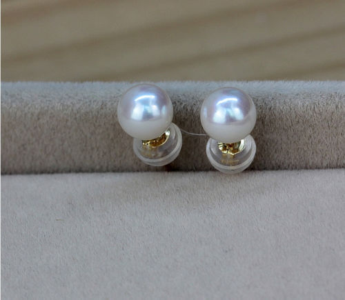 Beautiful a pair 11-12 mm AAA south sea white round pearl stud earrings free shipping