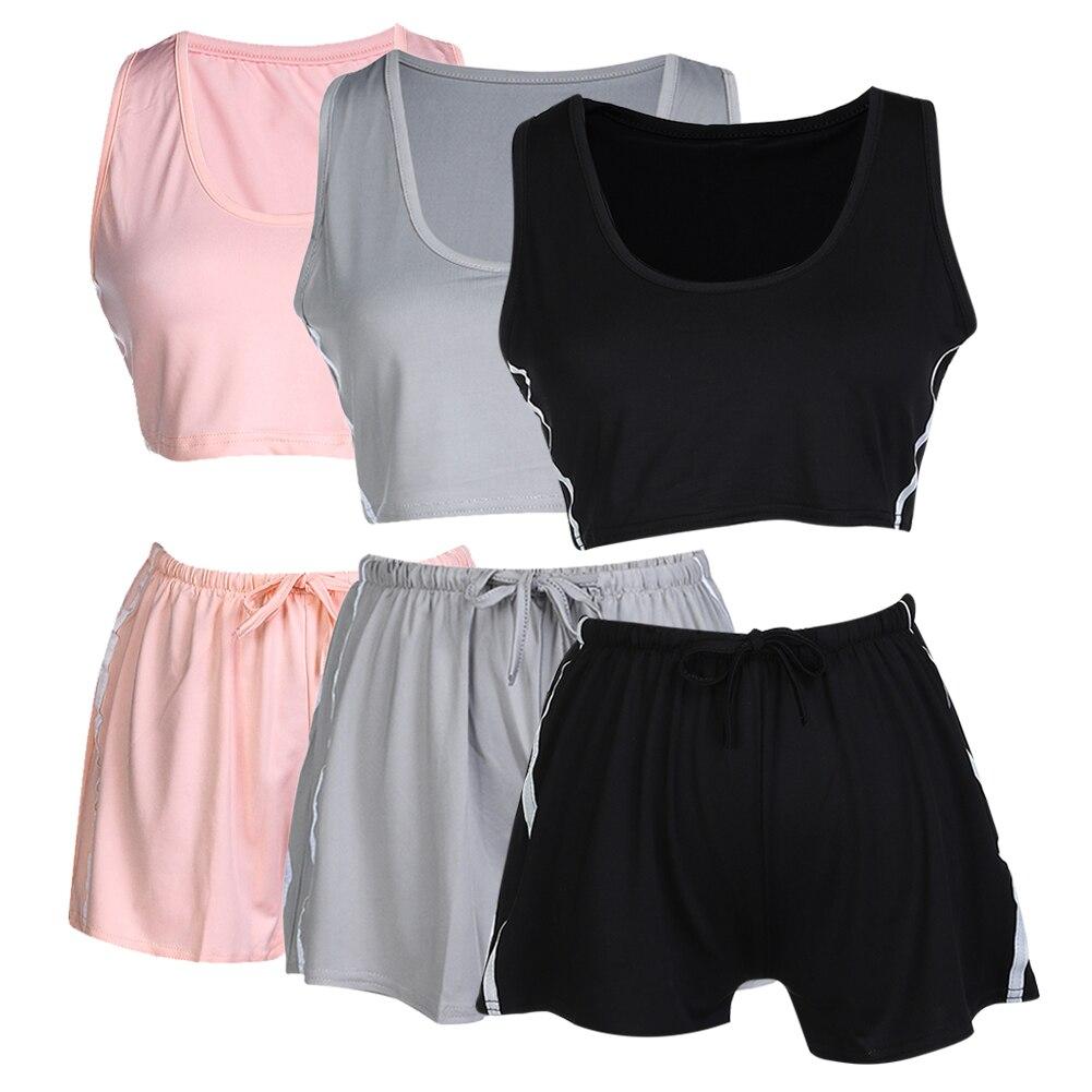 Women Yoga Sets Tops+ Shorts Sleeveless Round Collar Sport Suit Yoga Bra Gym Sports Running Slim female Fitness Clothing 2017