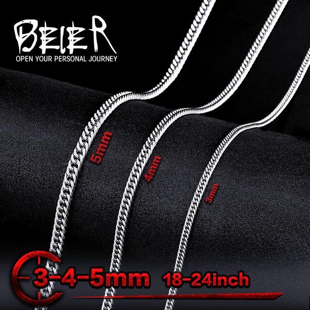 88021cde095 Chaîne plate en gros pour homme en acier inoxydable mode homme pas cher  collier bijoux BN1026