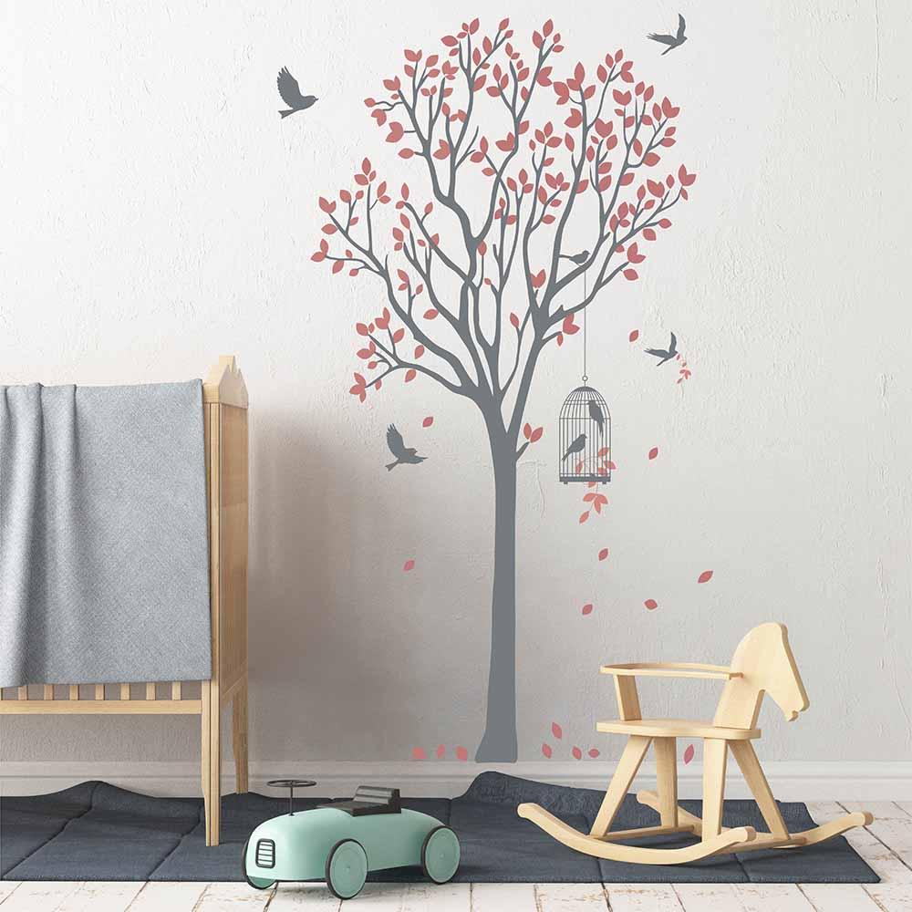 Arbre avec oiseaux et Cage Sticker mural arbre autocollant pour toute pièce amovible vinyle mur arbre et Cage à oiseaux Sticker mural 740 T