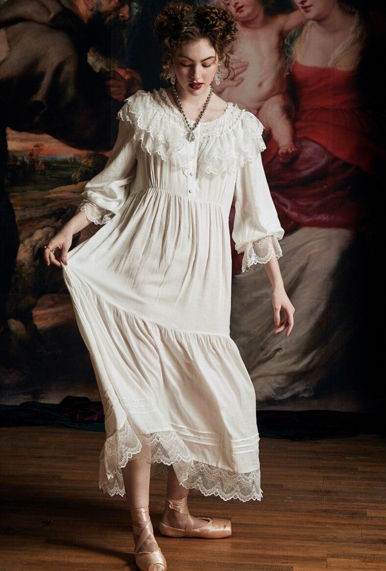 Camisón Vintage Mujer Elegante Reina Vestido De Noche Mujer