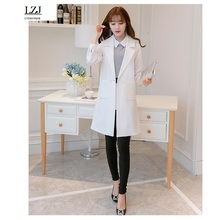 LZJ Vest Cardigans Women Waistcoat Sleeveless Vest Long Jacket Solid Colete Cardigan Coat Outwear Female Autumn FreeStyle 005RX