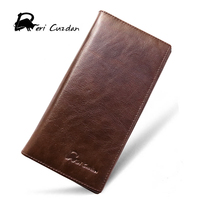 DERI CUZDAN Designer Purse Mens New Wallet Retro Casual Long Luxury Leather Wallet Phone Holder Brown
