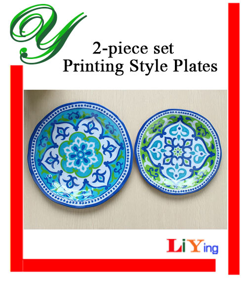 2pc melamine dinnerware set hamsa mandala round plates 2sized buffet serving tray dessert salad plastic dish - Melamine Dishes