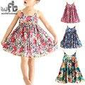 2-8years varejo Bonito Algodão Princesa Funda Vestido Sem Mangas da Roupa Do Bebê da Menina Coreano Floral Primavera Verão 2016 Nova