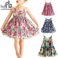 Retail 2 8years Cute Cotton Princess Dress Sling Sleeveless Clothing Baby Girl Korean Floral Spring Summer