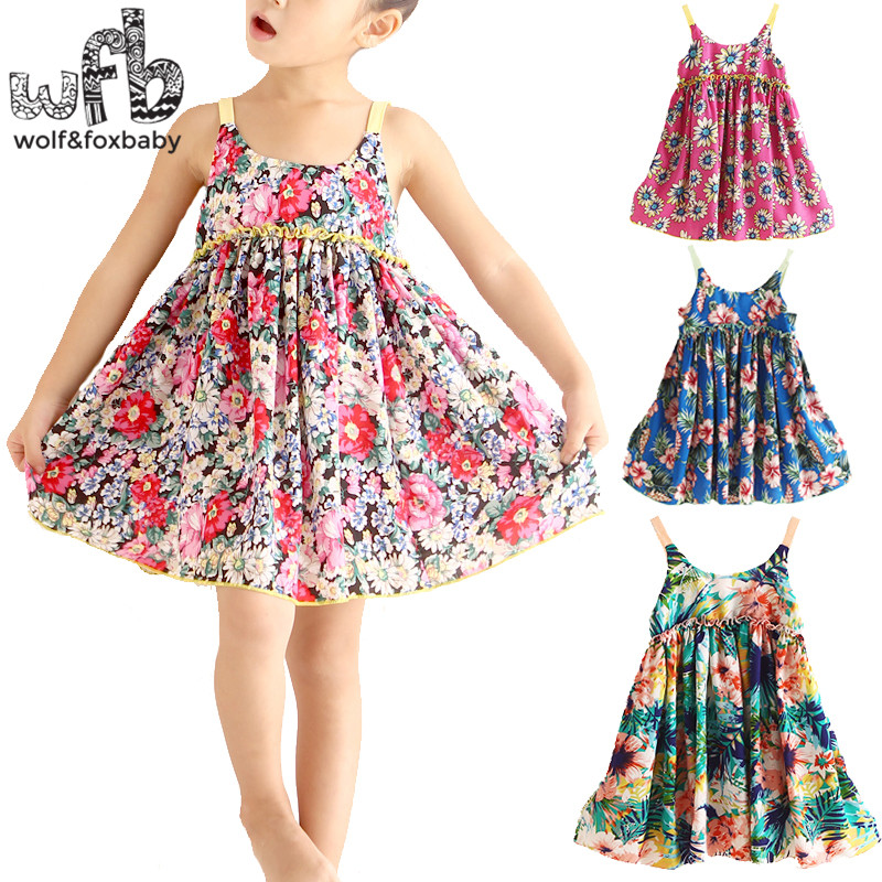 Retail 2-8years Cute Cotton Princess Dress Sling Sleeveless Clothing Baby Girl  Korean Floral Spring Summer Fall 2016 New baby s cute floral pattern two way pur cotton spring fall cloak w hood deep blue