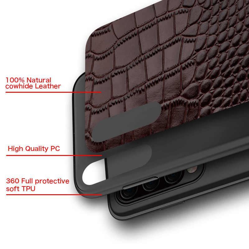 حقيقية جراب جلدي للهاتف المحمول لسامسونج galaxy A50 A70 S10 S7 S8 s9 plus A8 A7 2018  S10 E , S10 Plus , S8 Plus , S7 Edge , S9 Plus , Note 10 9 8 , A10 A20 A40 A60 J6 J4 J7 J5 الفاخرة 360 كامل واقية الغطاء الخلفي