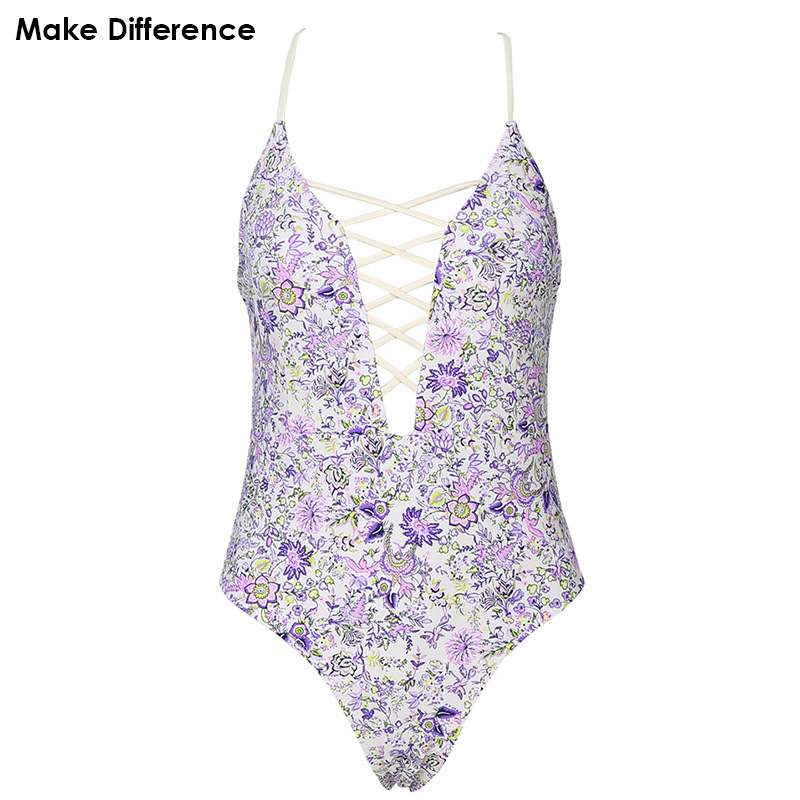 Make Difference Beautiful Floral Trikini 2017 Women's Bathing Suits Swimwear Bodysuit Print One Piece Swimsuits for Girls Women