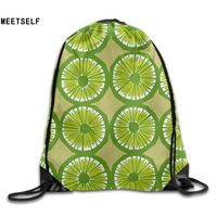 3D Print Fresh Kaffic Lime Pattern Shoulders Bag Women Fabric Backpack Girls Beam Port Drawstring Travel