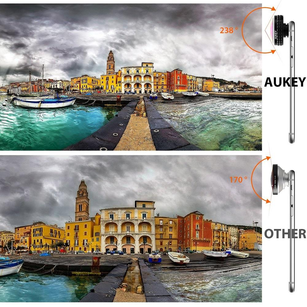 AUKEY Optic Pro Lens Super Wide Angle 238 Degree High Clarity telefon kamera lensi Camera Lens Kit for iPhone Android Smartphone 9