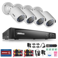 ANNKE 4CH Full 1080P Surveillance 4 In 1TVI DVR 4pcs 2 0MP Outdoor Fixed Night Vision