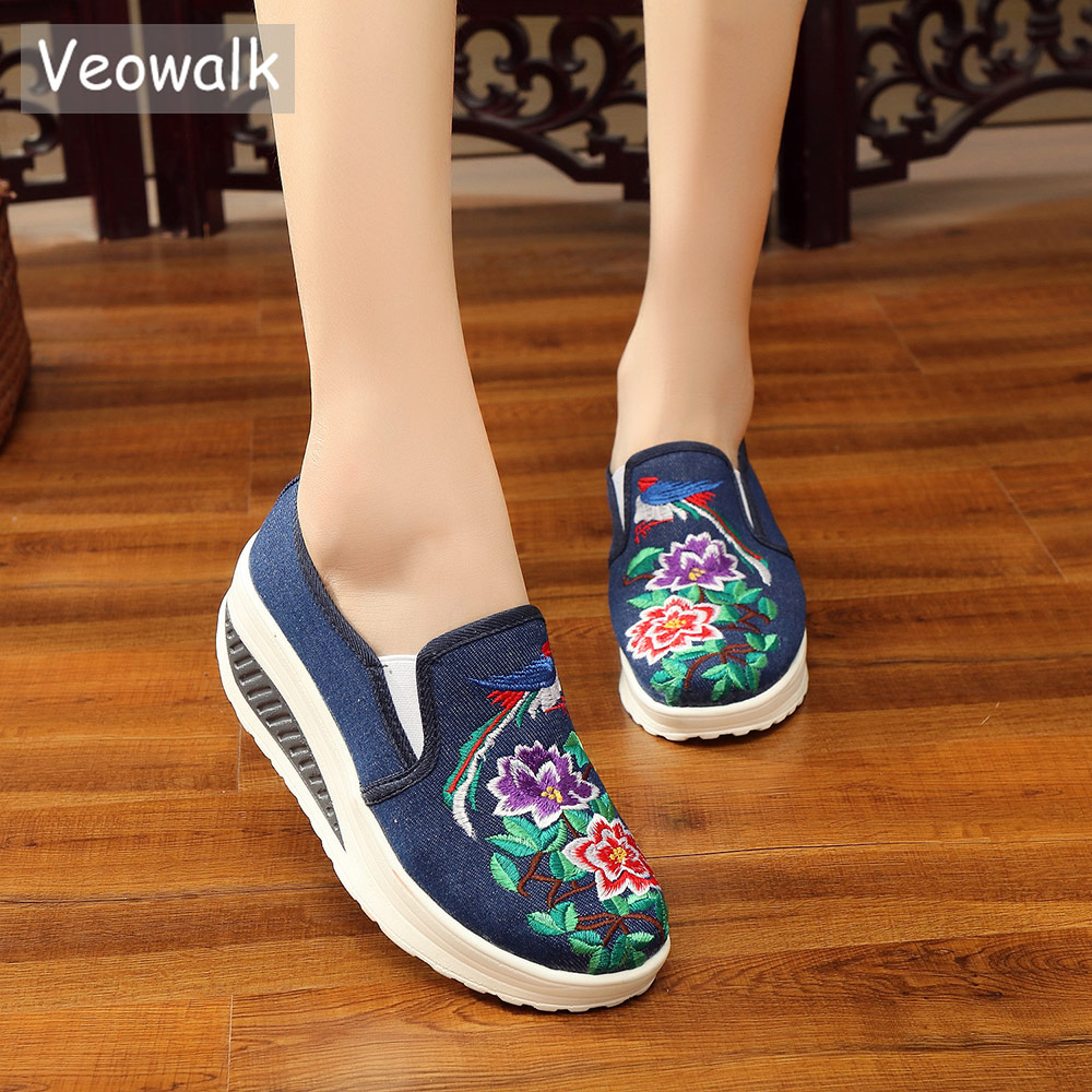 Veowalk Women Canvas Embroidered Slip-on Flat Platform Shoes Thick Bottoms Breathable Ladies Denim Cotton Fabric Loafer Sneakers new spring and summer cotton fabric breathable slip on flat with women s loafer mixed colors shoes free shipping