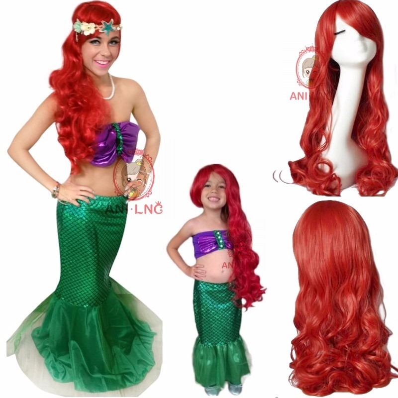 Anicnc 60/80 cm largo rizado sintético Sirenita ariel peluca para niños Red Cosplay pelucas de pelo para mujeres
