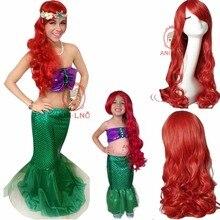 Anilnc 60/80 см длинные вьющиеся синтетический Русалочка Ариэль парик для детей красный косплэй волос Искусственные парики для женщин
