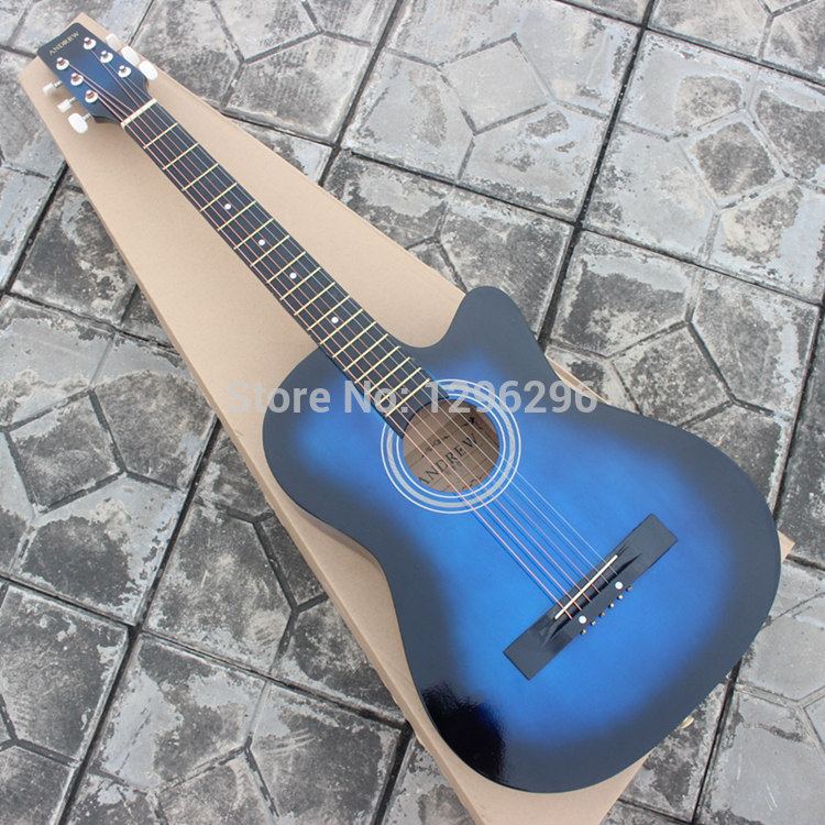 FREE SHIPPING chord 38INCH andrew wood guitar blue guitar About 96 ...
