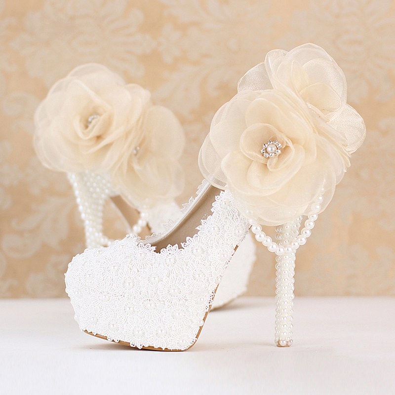 2018 Sweetness White Lace Bridesmaid Shoes  Customized Platform Bridal Dress Shoes Party Prom Pumps Popular Wedding Shoes new arrival white wedding shoes pearl lace bridal bridesmaid shoes high heels shoes dance shoes women pumps free shipping party