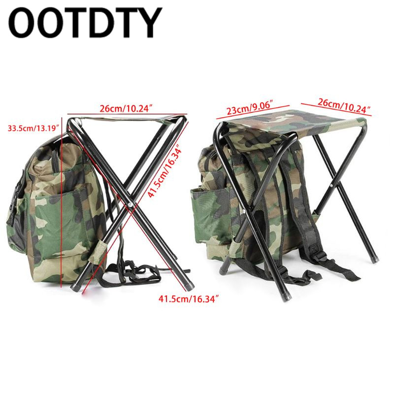 Folding Camping Fishing Chair Stool Backpack Picnic Bag Hiking Camouflage Seat Table Bag in Fishing Chairs from Sports Entertainment