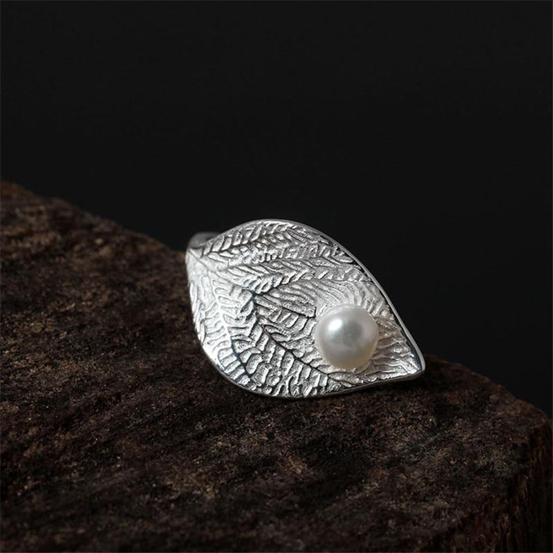 Росинка в лист натуральный жемчуг серебро 925 кольца Для женщин Симпатичные Элегантная дама стерлингового серебра 925 оригинальный творчески...