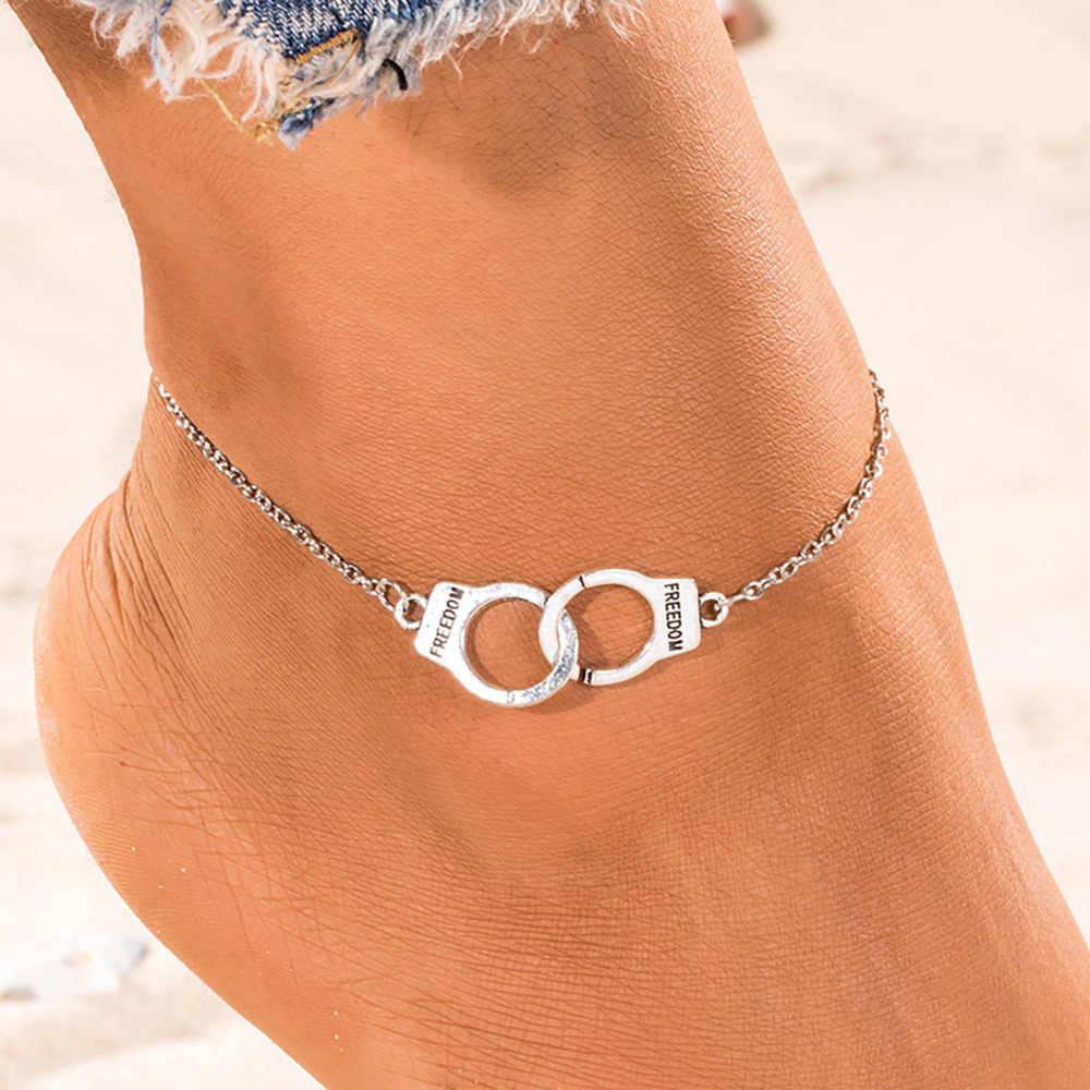 Srebrny kolor moda DIY obrączki dla kobiet dziewczyna artystyczny przyjaźń łańcuszek na kostkę kajdanki urok bransoletka boso Party biżuteria prezent