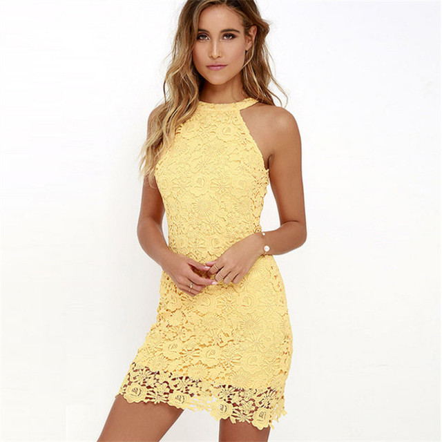 5XL Plus Size Women Summer Lace Dress Sleeveless Sexy Elegant Crochet Short Halter Yellow Dresses Floral vestidos verano 2018 1