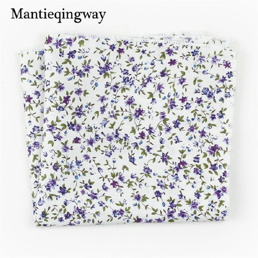 Mantieqingway 2017 Fashion Mens Cotton Floral Wedding Hanky Printed Handkerchiefs Party Pocket Squares Chest Towel For Men Suit