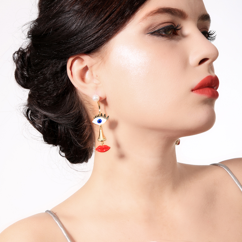 BALANBIU Asymmetric Enamel Evil Eye Stud Earrings For Women Gifts Hyperbole Face Nose Red Lip Acrylic Pearl New Fashion Jewelry image