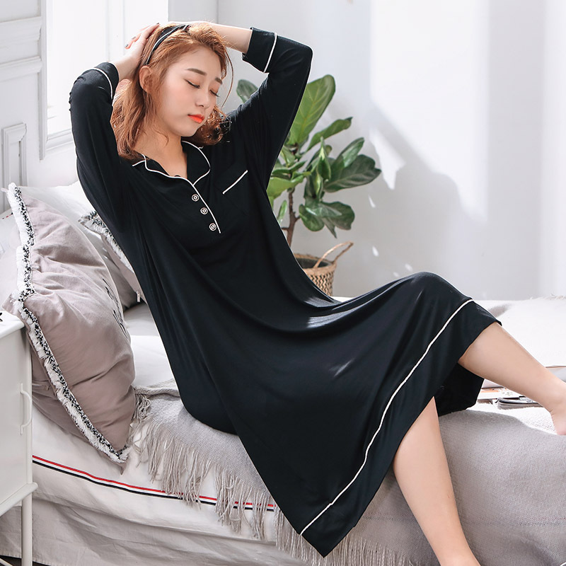 4XL-5XL plus size sleepwear women oversize nightgown long sleeve home clothing spring summer sleepdress maternity lingerie modal 1